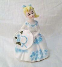 Vintage Lefton #6094 Southern Belle Lady Girl Planter 1950's Blue Flowers Blonde