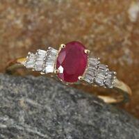 AA African Ruby & Baguette Diamond 9K Yellow Gold Ballerina Ring Size O/7