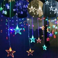 3.5m LED Twinkle Star Curtain Window Fairy Lights Christmas Party Decor G6Y5