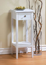 small white accent End side bedside Table Nightstand drawer Shelf plant stand