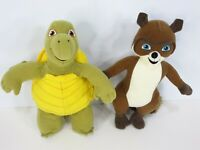 "Over The Hedge RJ Raccoon Verne Turtle 10"" Stuffed Plush 2006 Wild Planet Lot"