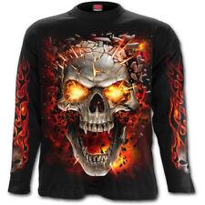 SPIRAL DIRECT SKULL BLAST Long Sleeve T-Shirt/Tattoo/Fire Skull/Goth/Flames/Top