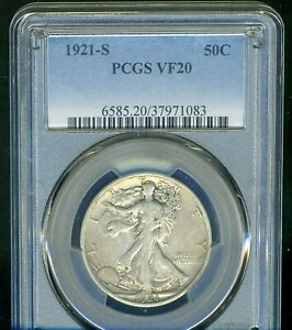 1921-S WALKING LIBERTY PCGS VF20 --- HANDSOME, PROBLEM FREE --- KEY DATE