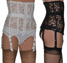 Lace Waspie / 6 Strap Suspender Belt with High Waist and Boned in Black or White