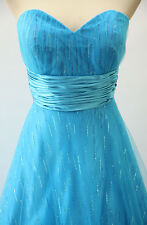NWT Jovani Size 8 Prom Formal Evening Long $400 Ball Gown Dress Blue Strapless