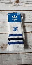 Adidas Single Pk Roller White Blue/Black Striped Crew Socks 6-12, Free Shipping