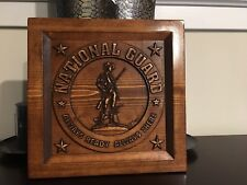 Wood Carved National Guard Logo Plaque - Military Gift, Veteran Gift