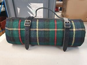 Picnic blanket carrier with Green stripe waterproof blanket 200cm x 150cm