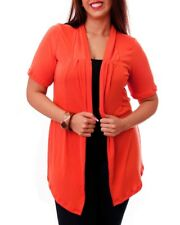 T27 NEW Womens Orange Plus Size 14/16 Short Sleeves Knitted Outerwear Cardigan