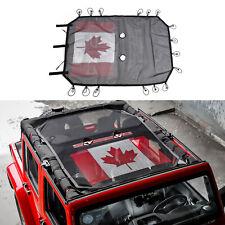 Mesh Car SunShade Bikini Top Net Cover For Jeep Wrangler JK JKU 4Dr Canada Flag