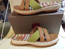 Cole Haan Leather and Canvas stripped sandals, size 11B, NWB