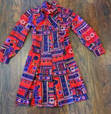 Vintage 1970's Short Dress Red Purple Floral Paisley Small/ Med Psychedelic