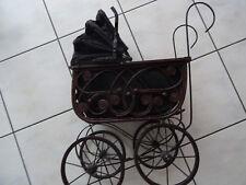 Puppenwagen um 1900 antik aus Metall Korb Korbgeflecht selten shabby Dekoration