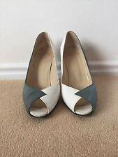 Christian Dior ásperos gris blanco señoras de cuero zapatos talla 6 reino unido vintage años 80