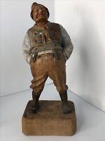 """Vintage Antique 7"""" Carved Wood Man Black Forest Bavarian German Swiss"""
