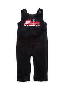 NWT Nursery Rhyme Baby Boys Firetruck Black Corduroy Overalls 3 Months