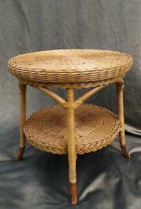 Mid Century Vintage Retro 60s 70s Boho Bamboo Coffee Table Wicker Rattan 2 Tier