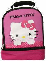 Thermos Lunch Kit Bag Hello Kitty Girls Kids Pink Dual Compartment Insulated