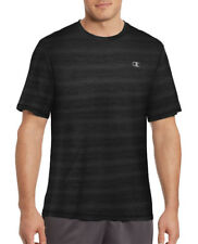 New Mens Champion Performance Striped Black Crew Neck Athletic T Shirt Tee S