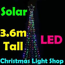 SOLAR 384 LED Giant Christmas Tree & Star 3.6m MULTICOLOUR Outdoor Lights NEW