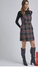 Dorothy Perkins Check Button Through Pinafore Dress - Green Size 10 Rrp £30