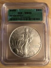 2005 US American Silver Eagle Dollar $1 ICG MS69 Uncirculated Gem White