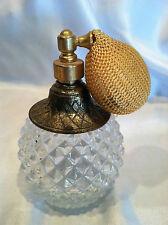 VTG antique Art Deco clear pressed glass perfume bottle with pump atomizer decor