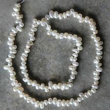Natural White Genuine Freshwater Pearl Egg Loose Beads Strand 14.5""
