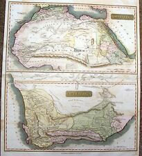 Thomson Map   NORTH AFRICA & SOUTH AFRICA (2 maps)  Antique Hand-Colored  1815