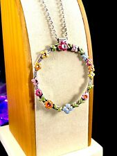 NWT BRIGHTON SILVER PLATED CHAIN NECKLACE FLOWER CHILD RHINESTONE CIRCLE PENDANT
