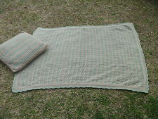 "2pc Handmade Hand Knit 42"" x 57"" Throw Afghan w Matching Pillow Sage Green & Tan"