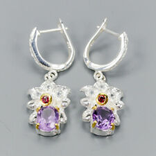 Handmade Natural Amethyst 925 Sterling Silver Earrings /E34992