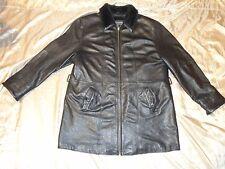 WILSON LEATHER  BLACK W/FAUX FUR COLLAR HEAVY COAT POSSIBLY SZ XL[SNUG 2XL FIT]