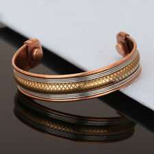 Bracelet Unisex New Cuff Link Copper Magnetic Pain Therapy Relief Healing Bangle