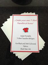 A4 IRON-ON T'SHIRT TRANSFER PAPER DARK FABRIC INKJET PRINTABLE X10 SHEETS
