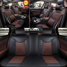 Microfiber Leather Car Seat Cover 5 Seats Mat Front+Rear Cushion Pillow 4 Season