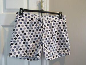 Parke & Ronen Men's Ivory/Black/Gray Circle Print Swim Trunks Size 30