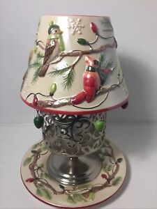 Vtg Retired Yankee Candle Shade And Tray With Pine Tree Birds And Christmas Bulb