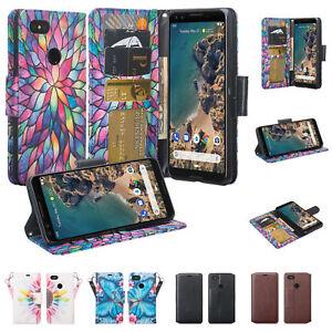 Google Pixel 3, Pixel 3 XL Slim Leather [Kickstand & Slots] Wallet Case Cover