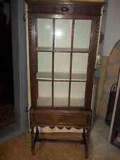 alter Vitrinenschrank-Eiche- 3 Seiten Glas-Glasvitrine-Verziert 160cm