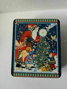 Old World Santa Tin Decorating Christmas Tree with Elves and Fairies Angels