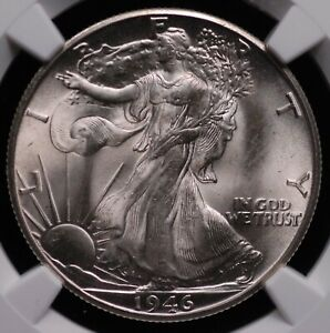 1946 D WALKING LIBERTY HALF NGC MS 65 SMOOTH WHITE SATIN FULLY STRUCK VERY CLEAN