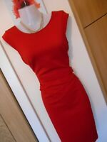 **STUNNING** LIPSY LONDON SIZE 10 RED GOLD CHAIN WIGGLE DRESS *FAST POSTAGE**