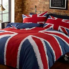 UNION JACK FLAG DOUBLE DUVET COVER SET ENGLAND GREAT BRITAIN BEDDING BLUE RED
