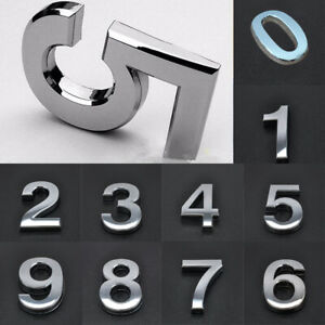3D Door House Numbers Self Adhesive Chrome Times Roman Style 50mm 70mm 90mm NEW