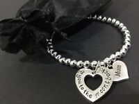 Love You To The Moon And Back Mum Mummy Stretch Bracelet With A Love Heart Charm