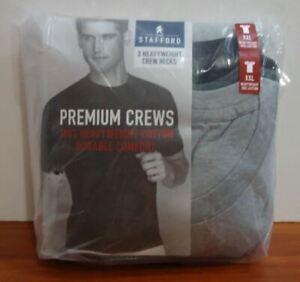 Stafford 3-Pack Men's Heavy Weight 100% Cotton Crew-Neck T-Shirt Black-Grey