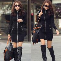 caldo inverno vestito donna slim nera aderente abito manica lunga cappotto