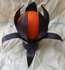 Abat-jour Etnica a fiore in cocco nero palla di cotone arancio lampada tavolo