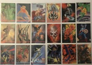 1993 Marvel Masterpieces Trading Cards COMPLETE BASE SET, #1-90, SkyBox